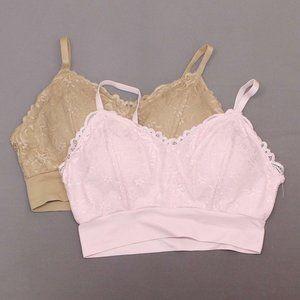 Rhonda Shear 2 Pack Lace Leisure Bras Nude Pink XL